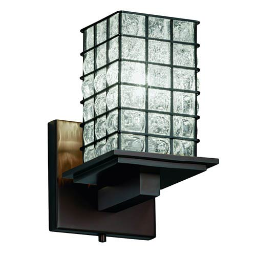 Justice Design Group Wire Glass Dark Bronze 5.25-Inch One-Light Flat Rim Square Wall Sconce with Clear Bubble Glass