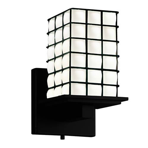 Justice Design Group Wire Glass Matte Black 5.25-Inch One-Light Flat Rim Square Wall Sconce with Opal Glass