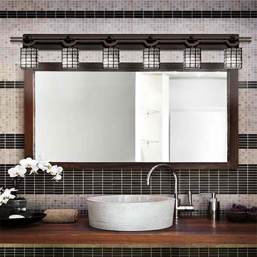 Justice Design Group Wire Glass Dark Bronze Six-Light Bath Bar