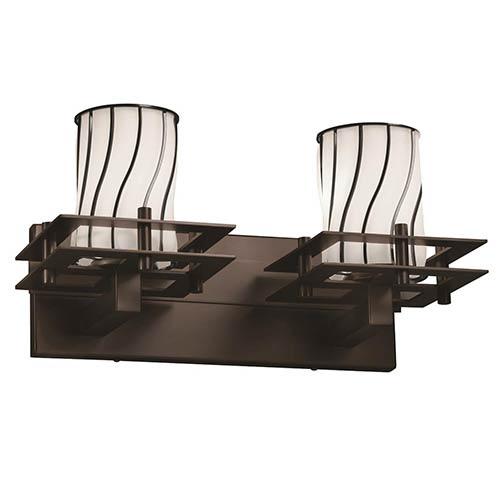 Justice Design Group Wire Glass Dark Bronze Two-Light Bath Bar