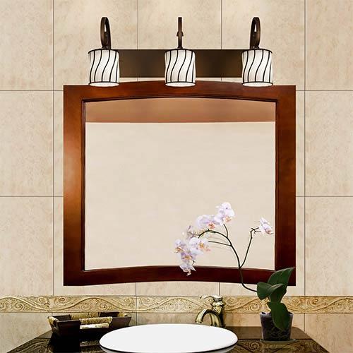 Justice Design Group Wire Glass Dark Bronze Three-Light Bath Bar