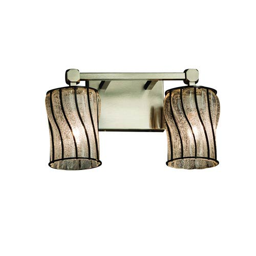 Wire Glass Brushed Nickel 13-Inch LED Bath Bar