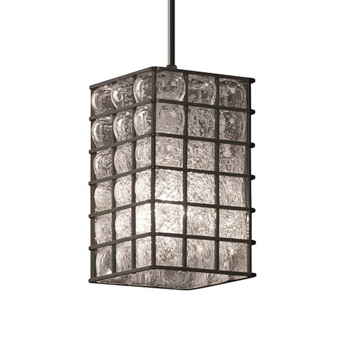Wire Glass Antique Brass One-Light Flat Rim Square Mini Pendant with Grid Clear Bubbles Glass