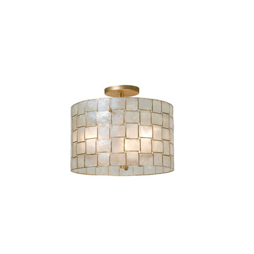 Roxy Gold Leaf Three-Light Semi-Flush Mount