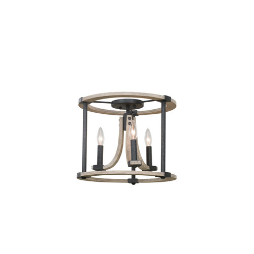 Middleton Natural Iron Three-Light Flush Mount