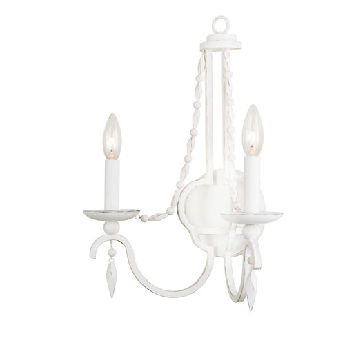 Acadia Distressed White Two-Light Wall Sconce