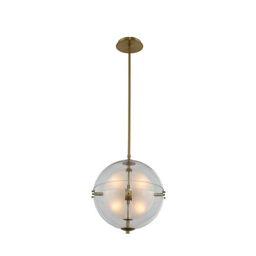 Sussex Winter Brass 14-Inch Four-Light LED Pendant