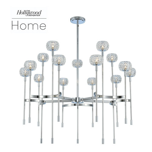 The Hollywood Reporter Mae Chrome 15-Light LED Chandelier