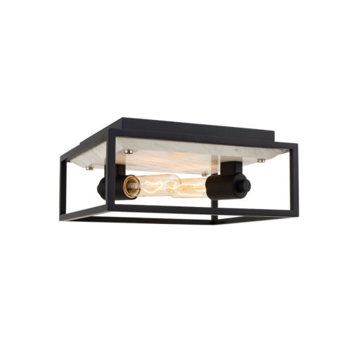 Plaza Matte Black with Polished Nickel Two-Light Flush Mount