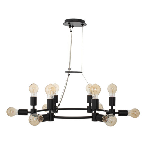 Union Matte Black 12-Light Chandelier