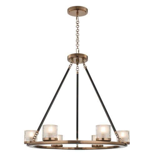 Library Library Brass Six-Light LED Chandelier