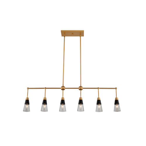 Ponti Matte Black with New Brass Six-Light Mini Chandelier