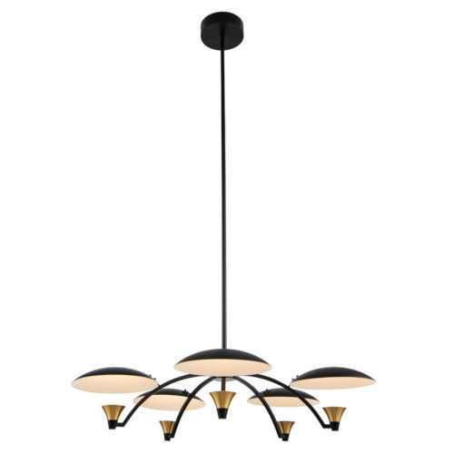 Redding Matte Black with Brass Accent Five-Light LED Chandelier