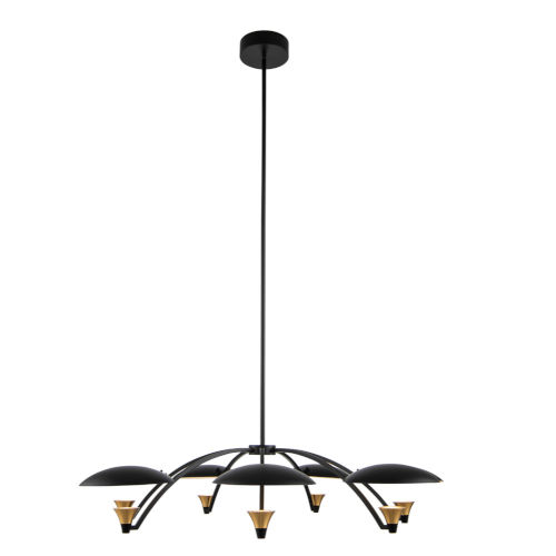 Redding Matte Black with Brass Accent Seven-Light LED Chandelier