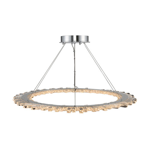 Quasar Chrome 42-Inch One-Light Pendant With Firenze Clear Crystal