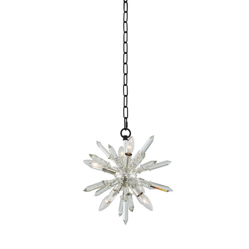 Angelo Matte Black with Polished Silver 14-Inch Six-Light Pendant with Firenze Crystal