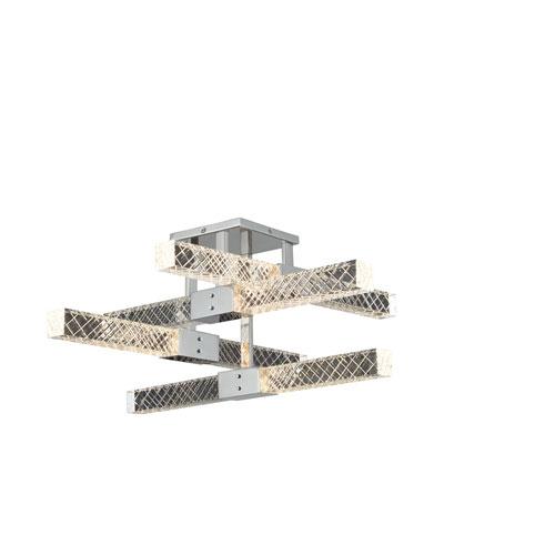 Apollo Chrome 25-Inch Eight-Light LED Semi-Flush Mount with Firenze Crystal