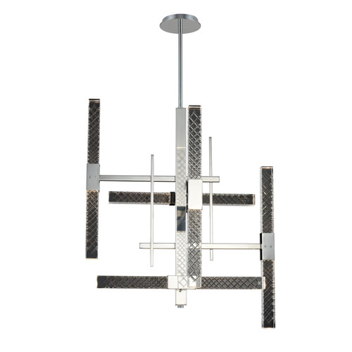 Apollo Chrome 26-Inch 10-Light LED Chandelier with Firenze Crystal