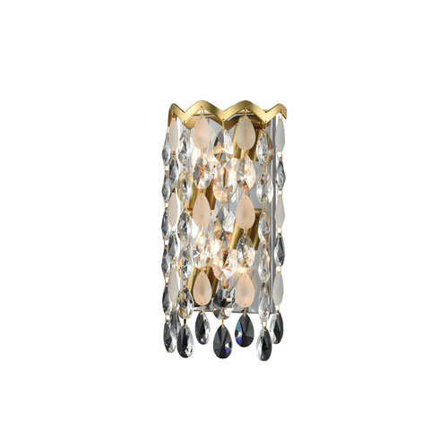 Caretta Antique Brass Eight-Inch Four-Light ADA Wall Sconce with Firenze Crystal