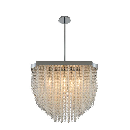Tenda Chrome 25-Inch 13-Light Pendant with Firenze Crystal