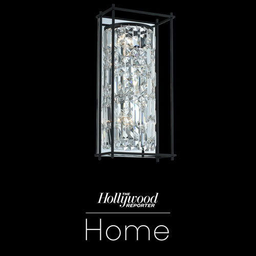 The Hollywood Reporter Joni Matte Black Nine-Inch Three-Light Wall Sconce with Firenze Crystal