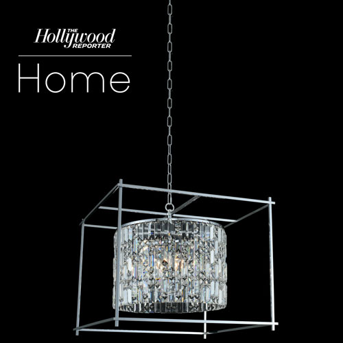 The Hollywood Reporter Joni Chrome 24-Inch Eight-Light Pendant with Firenze Crystal