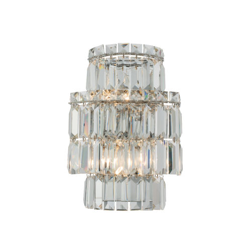 Livelli Polished Chrome Two-Light Wall Sconce with Firenze Crystal