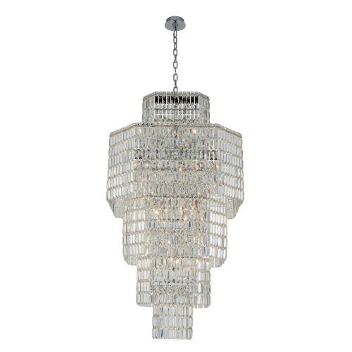 Livelli Polished Chrome 25-Light Chandelier with Firenze Crystal