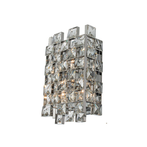 Piazze Polished Chrome Three-Light Wall Sconce with Firenze Crystal