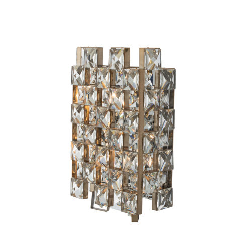 Piazze Brushed Champagne Gold Three-Light Wall Sconce with Firenze Crystal
