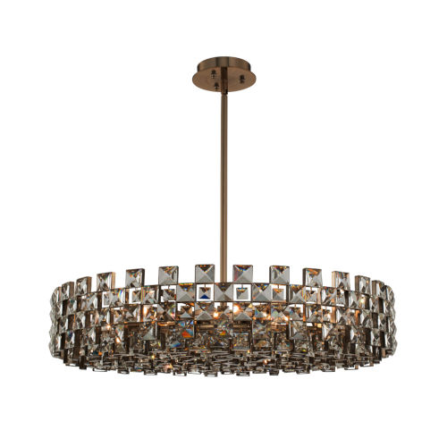 Piazze Brushed Champagne Gold 12-Light Pendant with Firenze Crystal