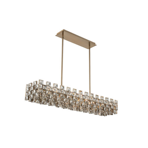 Piazze Brushed Champagne Gold Eight-Light Island Chandelier with Firenze Crystal