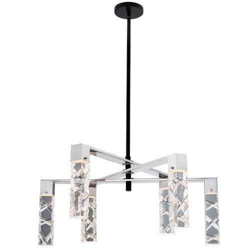 Serres Matte Black Polished Nickel Six-Light LED Chandelier with Firenze Crystal
