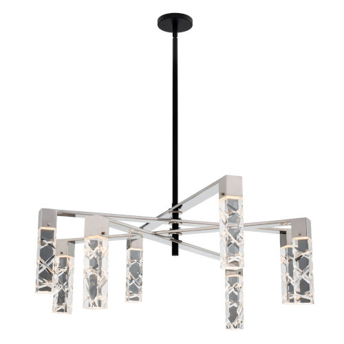 Serres Matte Black Polished Nickel Eight-Light LED Chandelier with Firenze Crystal