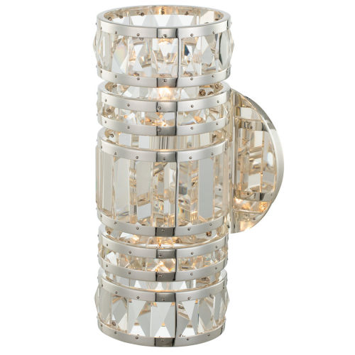 Strato Polished Silver Two-Light Wall Sconce with Firenze Crystal