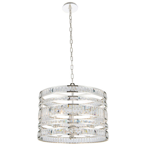 Strato Polished Silver Three-Light Pendant with Firenze Crystal