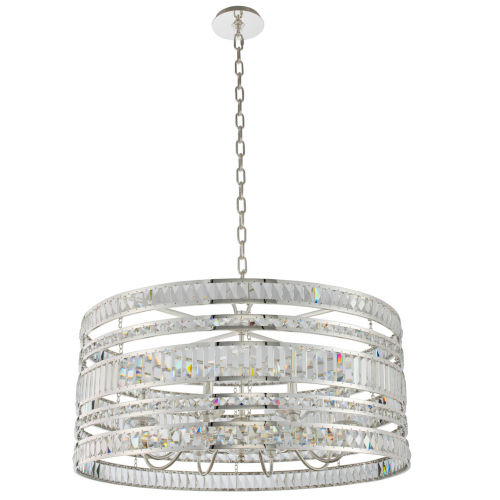 Strato Polished Silver Eight-Light Pendant with Firenze Crystal