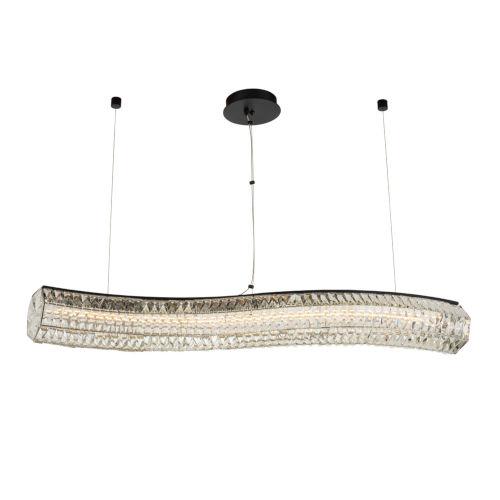 Tamburo Matte Black Polished Chrome LED Island Chandelier with Firenze Crystal