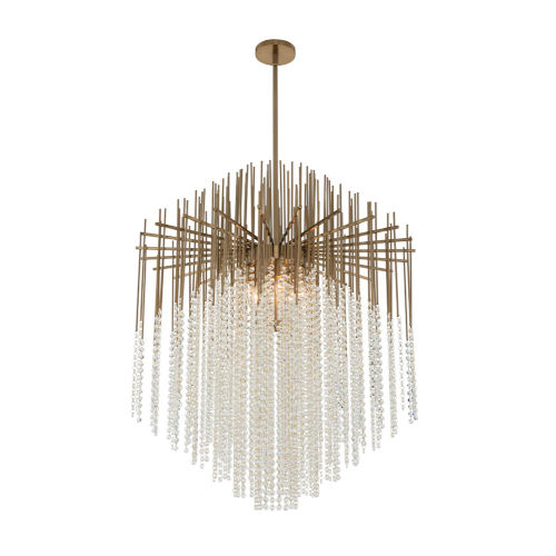 Estrella Brushed Champagne Gold Eight-Light Pendant with Firenze Crystal