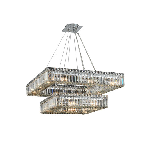 Quadro Chrome 27-Inch 20-Light Pendant with Firenze Crystal
