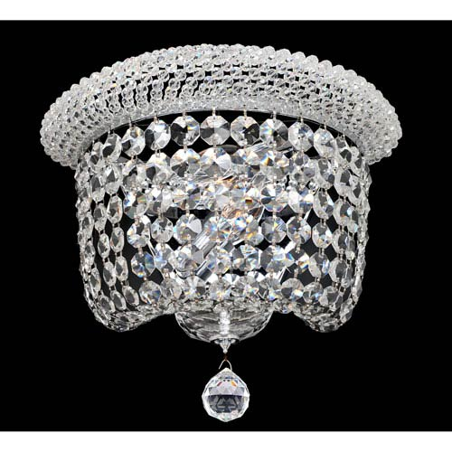 Allegri by Kalco Napoli Polished Chrome Two-Light Sconce with Firenze Clear Crystal