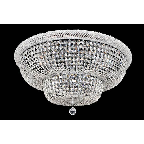 Napoli Polished Chrome 18-Light Flush Mount with Firenze Clear Crystal