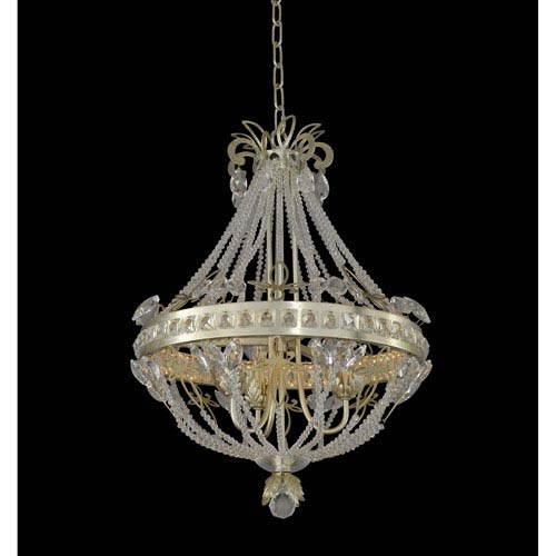 Orleans Champagne Silver Leaf Three-Light Chandelier with Firenze Clear Crystal
