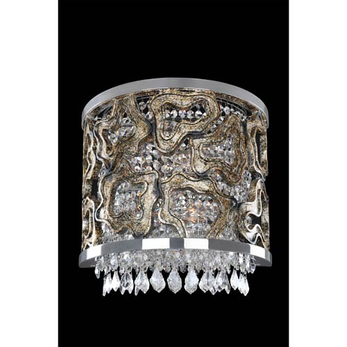 Carravagio Chrome Two-Light Sconce with Firenze Clear Crystal