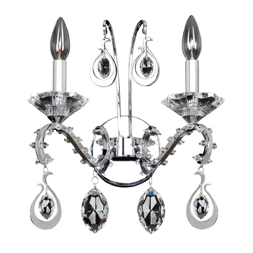 Torrelli Chrome Two-Light Wall Bracket with Firenze Clear Crystal
