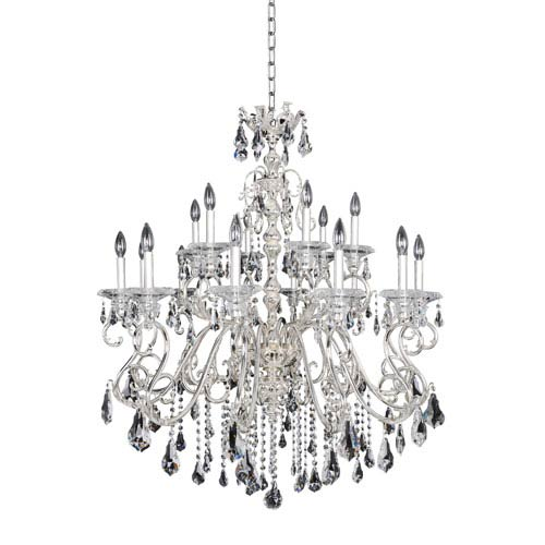 Allegri by Kalco Haydn Silver 18-Light Chandelier with Firenze Clear Crystal