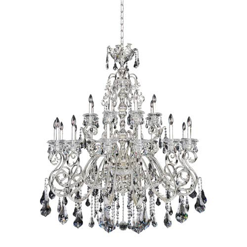 Allegri by Kalco Haydn Silver 24-Light Chandelier with Firenze Clear Crystal