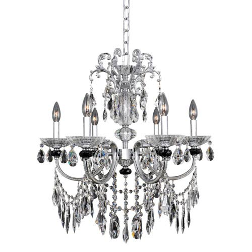 Allegri by Kalco Steffani Chrome Six-Light Chandelier with Firenze Clear Crystal