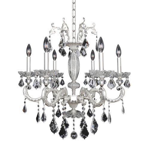Allegri by Kalco Casella Two-Tone Silver Six-Light 26-Inch Wide Chandelier with Firenze Clear Crystal
