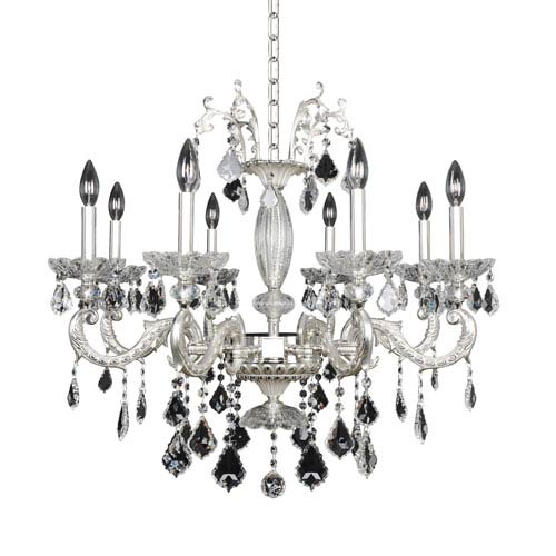 Casella Two-Tone Silver Eight-Light 26-Inch High Chandelier with Firenze Clear Crystal